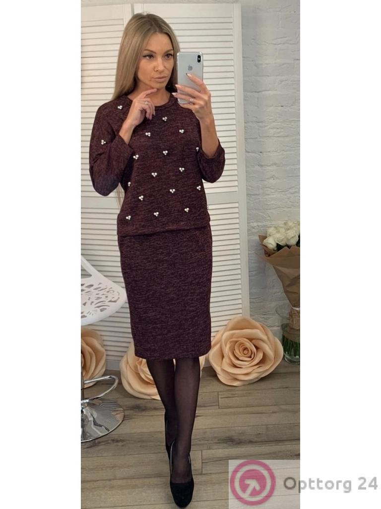 9694c7145a4 Костюм женский коричневого цвета из ангоры (юбка и кофта) - купить в ...