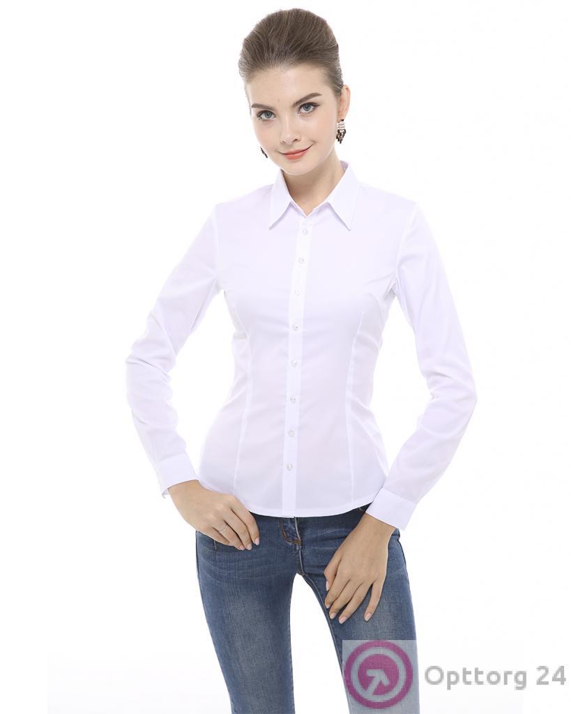 df98c1c46f51 Классическая белая блузка на пуговицах