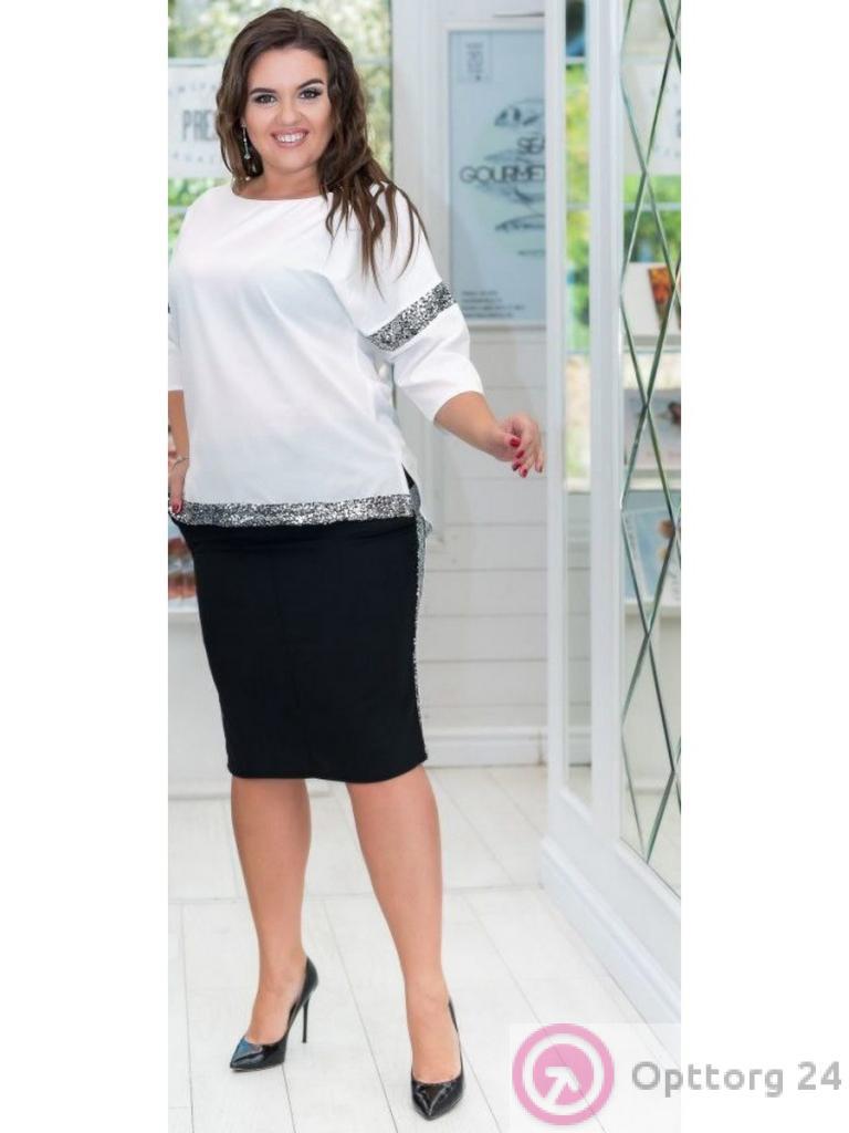 bf556cbcde4 Костюм женский (черная юбка и белая кофта) - купить в Москве оптом ...