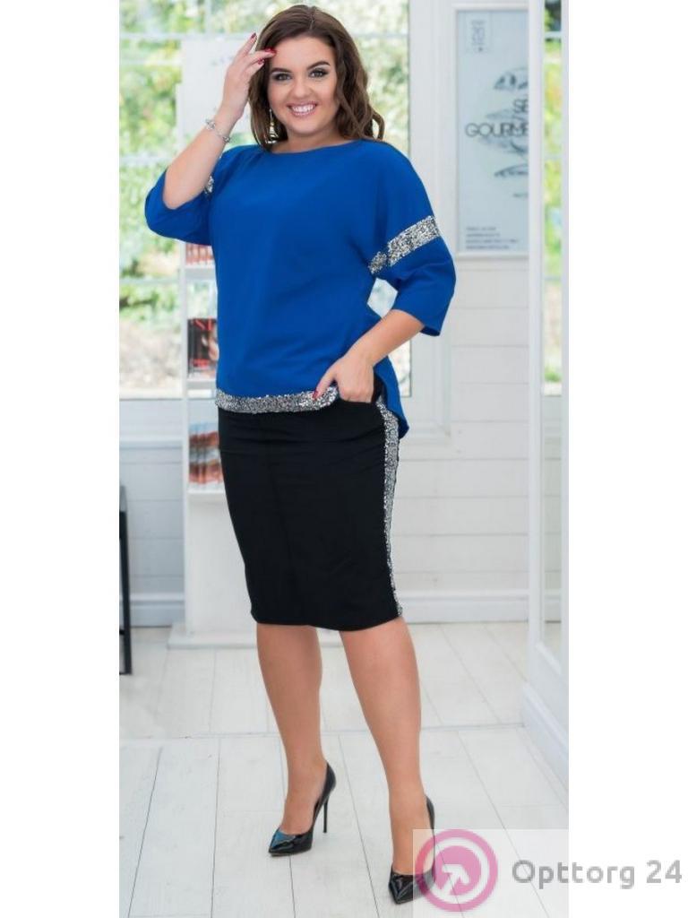 f32af4d2bde Костюм женский (черная юбка и синяя кофта) - купить в Москве оптом ...