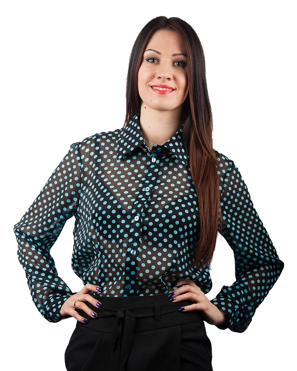 Блузка женская под шифон черная в бирюзовый горошек оптом от