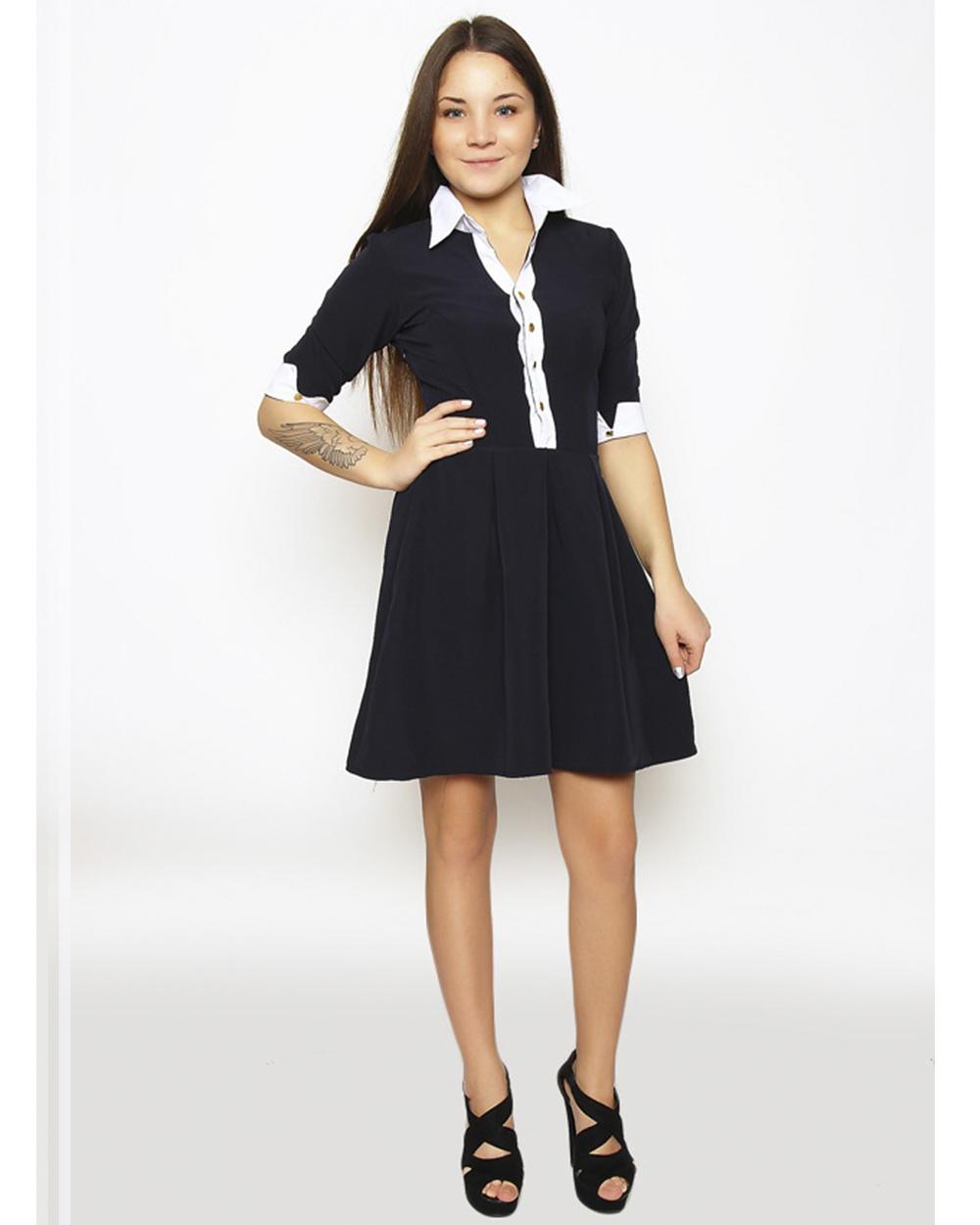 Купить Черное Платье С Белым Воротником И Манжетами В Москве