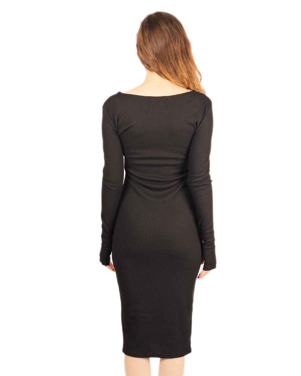 Купить Черное Трикотажное Платье Ниже Колена