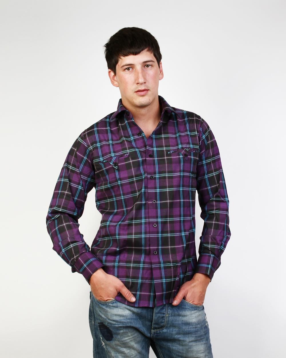 Фиолетовая рубашка мужская 4